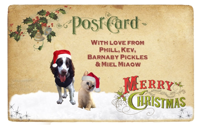 Vintage Christmas postcard with pets